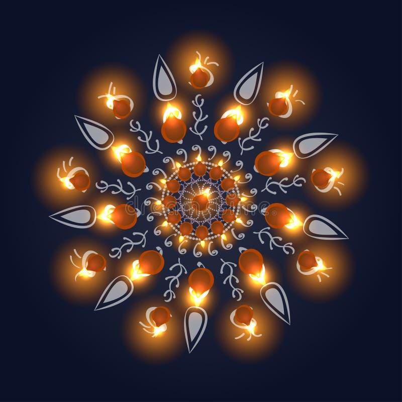 Счастливая предпосылка diwali Горящая свеча на темной предпосылке иллюстрация вектора