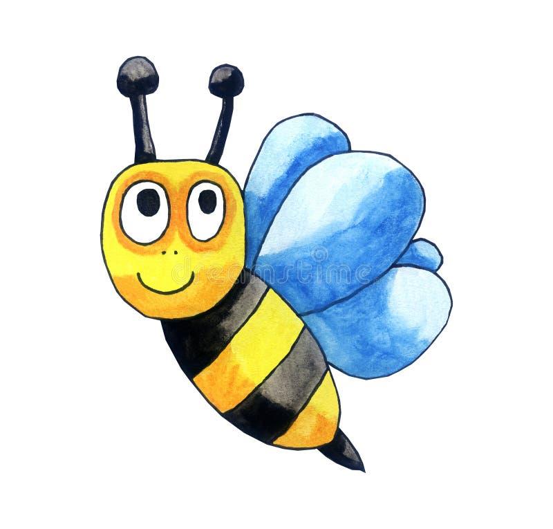 Счастливая пчела акварели иллюстрация вектора