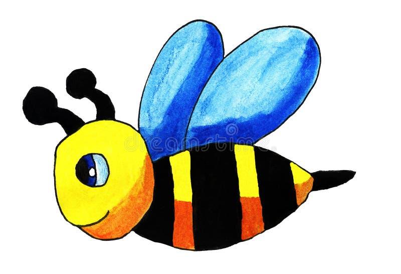 Счастливая пчела акварели иллюстрация штока