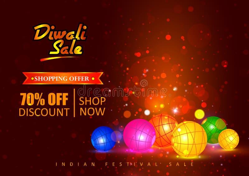 Счастливая реклама покупок праздника Diwali и продажа продвижения предлагают иллюстрация вектора