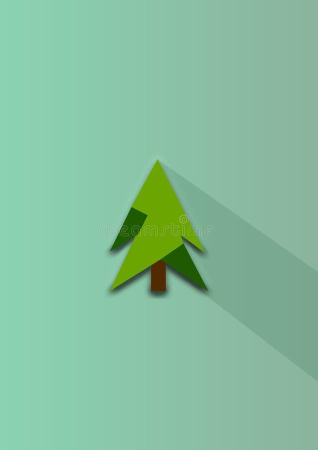 Счастливая рождественская открытка Нового Года, дерево, иллюстрация стоковое фото rf