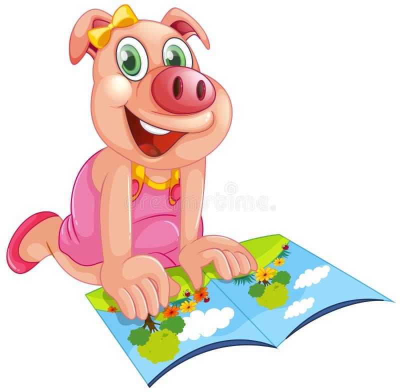Счастливая свинья читая книгу иллюстрация вектора