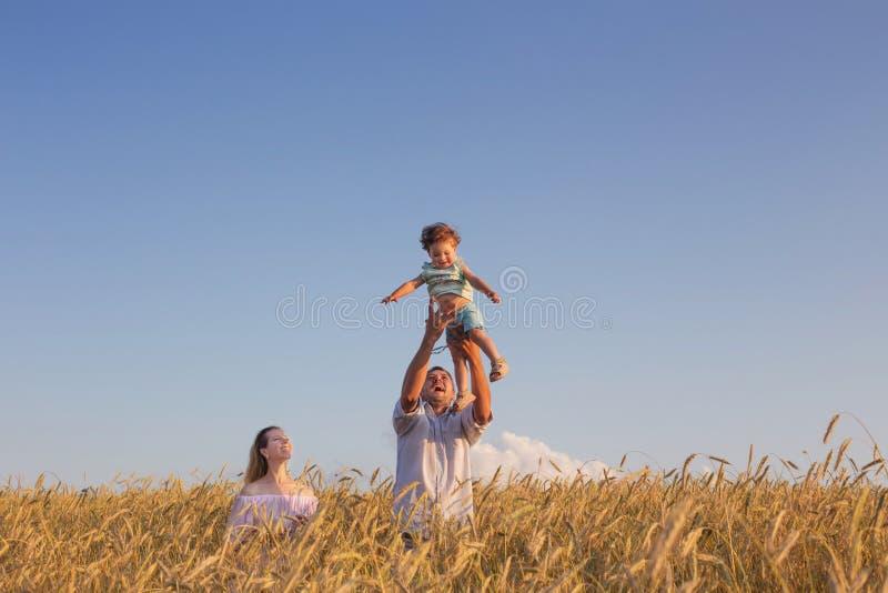 Счастливая семья в поле хлопьев на заходе солнца стоковое фото rf