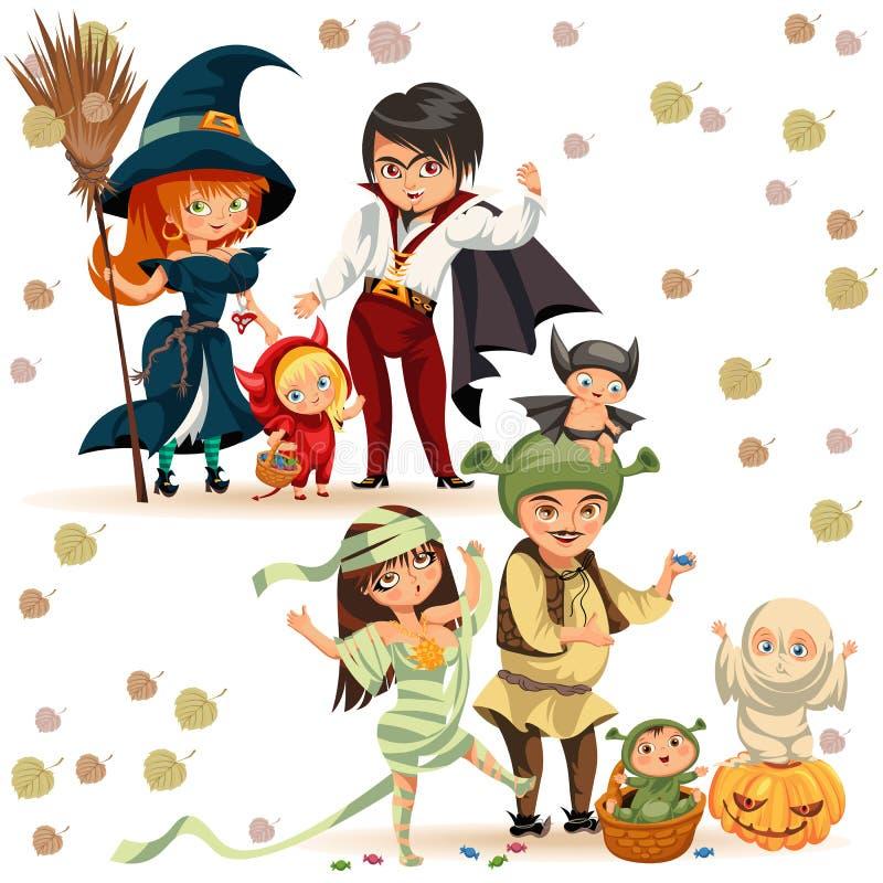 Счастливая семья в хеллоуине костюмирует иллюстрацию вектора плаката Дети и родители шаржа смешные в различных платьях иллюстрация штока
