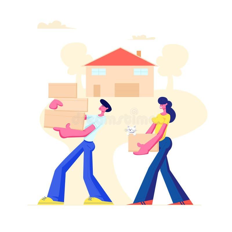 Счастливая семья двигая в новый дом Супруг и жена носят картонные коробки в руках, приносящ вещи и любимца дома иллюстрация вектора