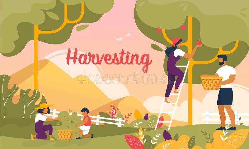 Счастливая семья жать в знамени сада, лете бесплатная иллюстрация
