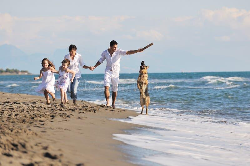 Счастливая семья играя с собакой на пляже стоковое изображение rf
