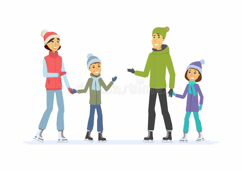 Счастливая семья катаясь на коньках - иллюстрация характеров людей шаржа бесплатная иллюстрация