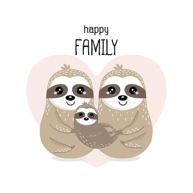 Счастливая семья медведя лени в стиле мультфильма иллюстрация вектора