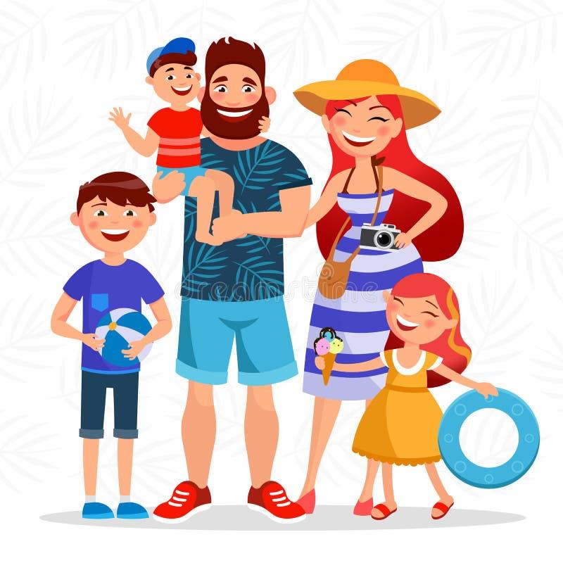 Счастливая семья на летних каникулах идя к пляжу и имея остатки близко к морю Родители и шарж детей иллюстрация штока