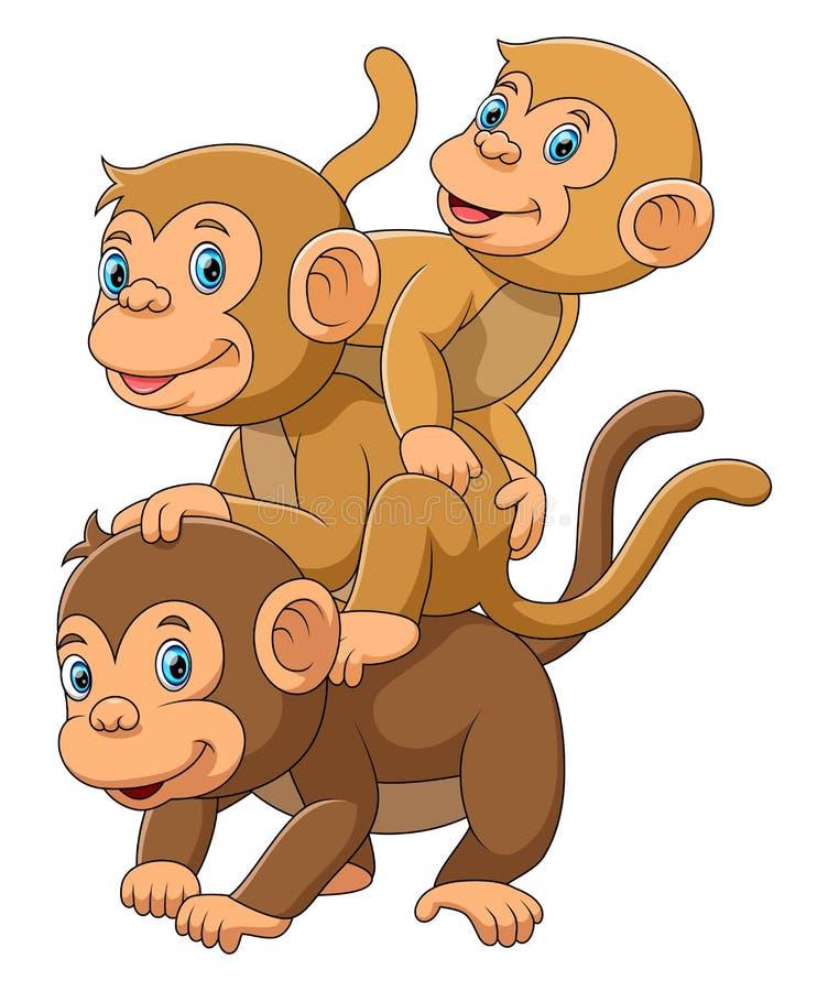 Счастливая семья обезьяны с ее 2 младенцами иллюстрация штока
