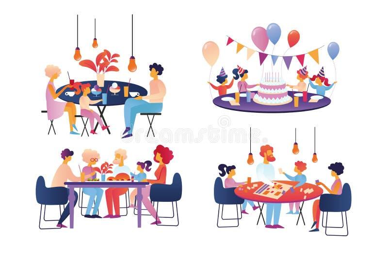Счастливая семья празднует и изолированный набор свободного времени иллюстрация штока