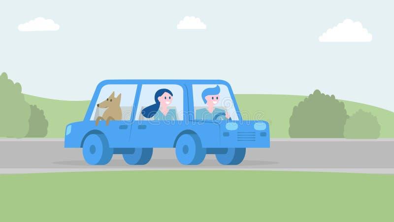 Счастливая семья путешествуя совместно автомобилем также вектор иллюстрации притяжки corel бесплатная иллюстрация