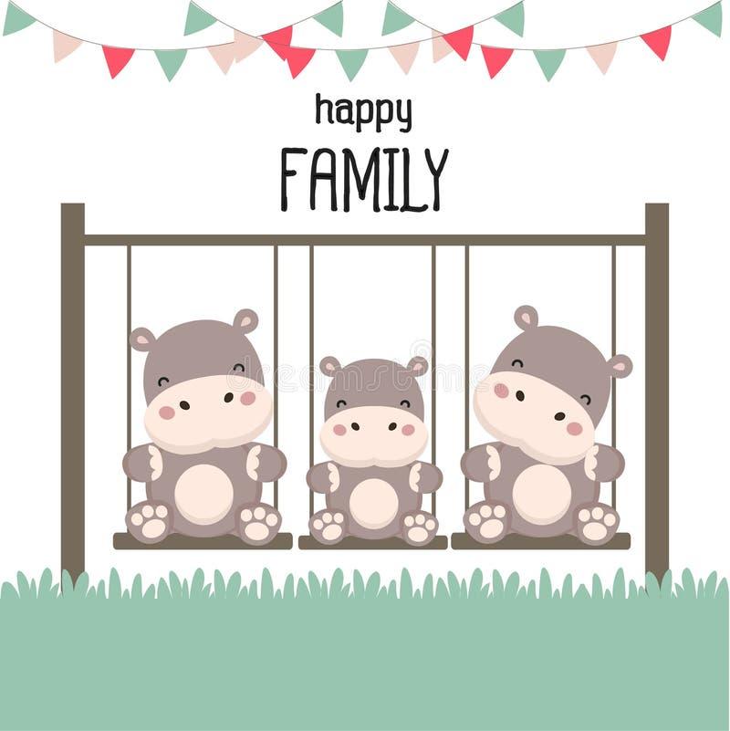 Счастливая семья с бегемотом на качании иллюстрация вектора