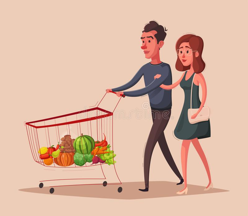 Счастливая семья с магазинной тележкаой супермаркета alien кот шаржа избегает вектор крыши иллюстрации иллюстрация вектора