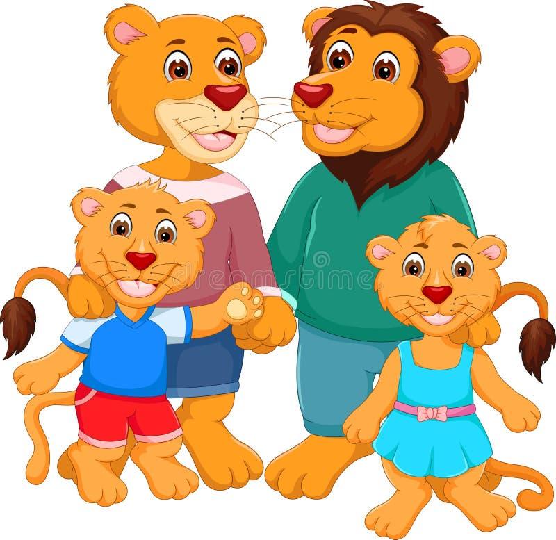 Счастливая семья шаржа льва иллюстрация вектора