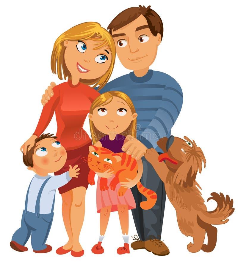 Счастливая семья иллюстрация штока