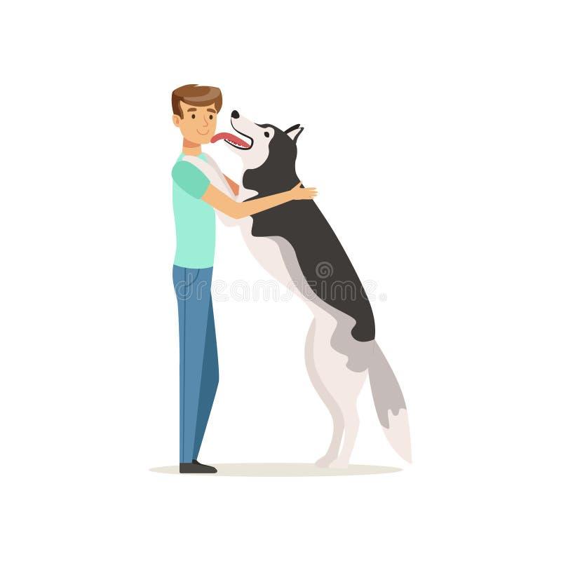 Счастливая собака лижа сторону человека s Гай имея потеху с сибирской лайкой Doggy встречает предпринимателя после долгого времен бесплатная иллюстрация