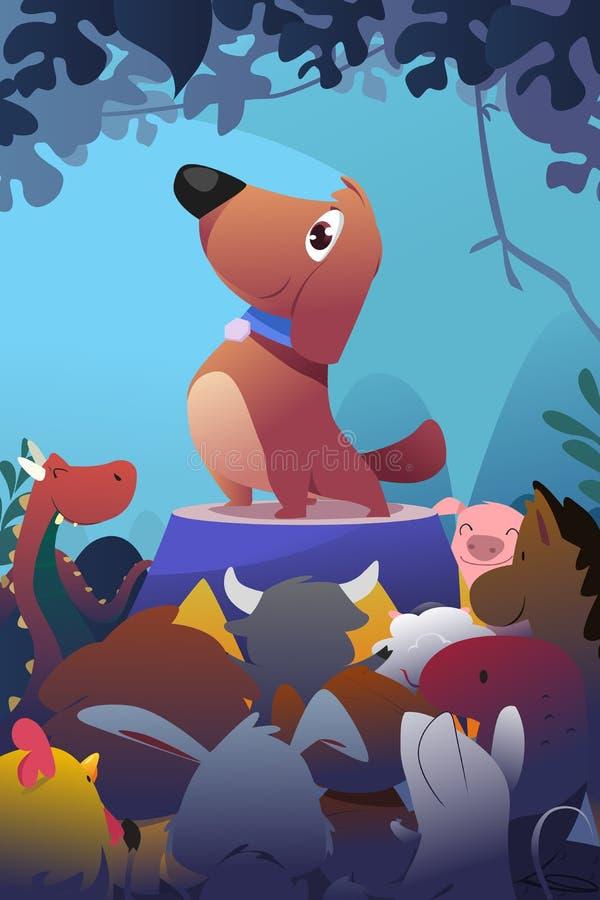 Счастливая собака с другими животными иллюстрация вектора