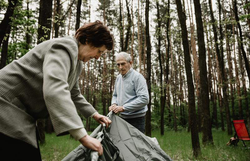 Счастливая старшая семья наслаждаясь тратящ время совместно стоковые изображения
