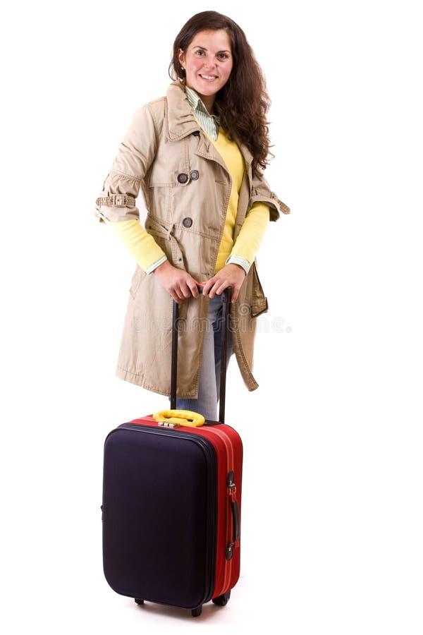 счастливая туристская женщина стоковые изображения rf