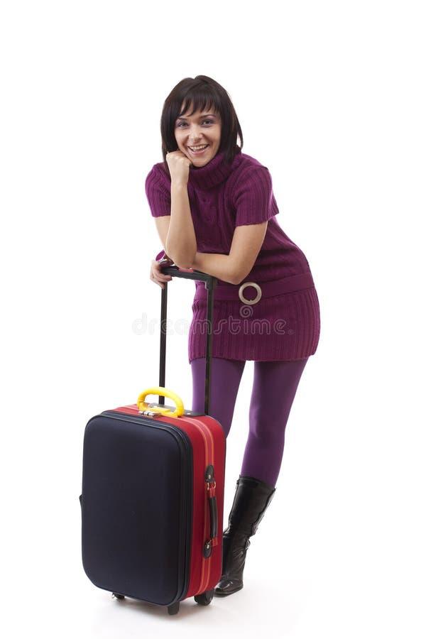 счастливая туристская женщина стоковые изображения