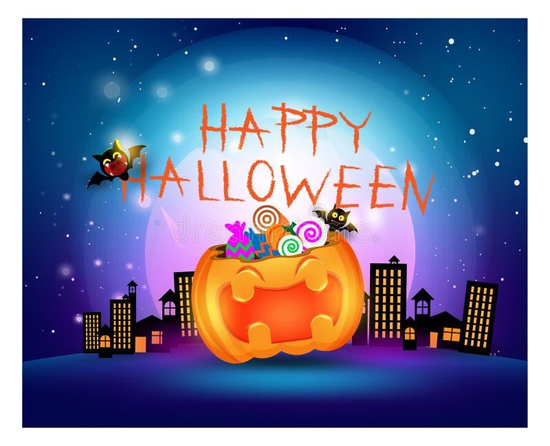 Счастливая тыква смеясь над украшением партии фокуса или обслуживания конфеты партии хеллоуина, карточкой приглашения на праздник иллюстрация штока