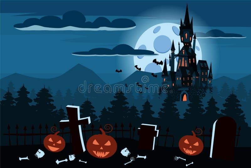 Счастливая тыква хеллоуина в кладбище, чернит покинутый замок, хмурый лес осени, панораму, ночу темноты полнолуния иллюстрация штока