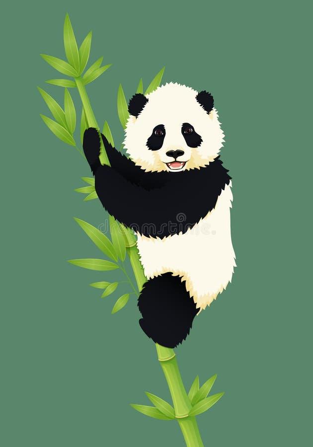 Счастливая усмехаясь панда младенца гигантская взбираясь зеленое бамбуковое дерево Черно-белый китайский новичок медведя иллюстрация вектора