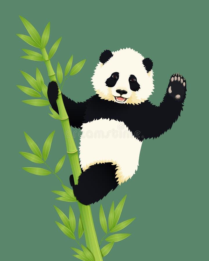 Счастливая усмехаясь панда младенца гигантская взбираясь зеленое бамбуковое дерево и развевать Черно-белый китайский новичок медв бесплатная иллюстрация