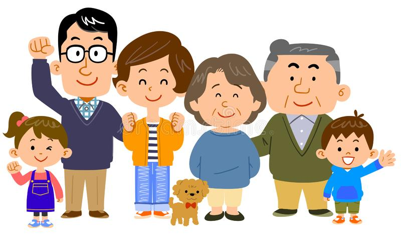 Счастливая центризованная женщина семьи 3 поколений бесплатная иллюстрация