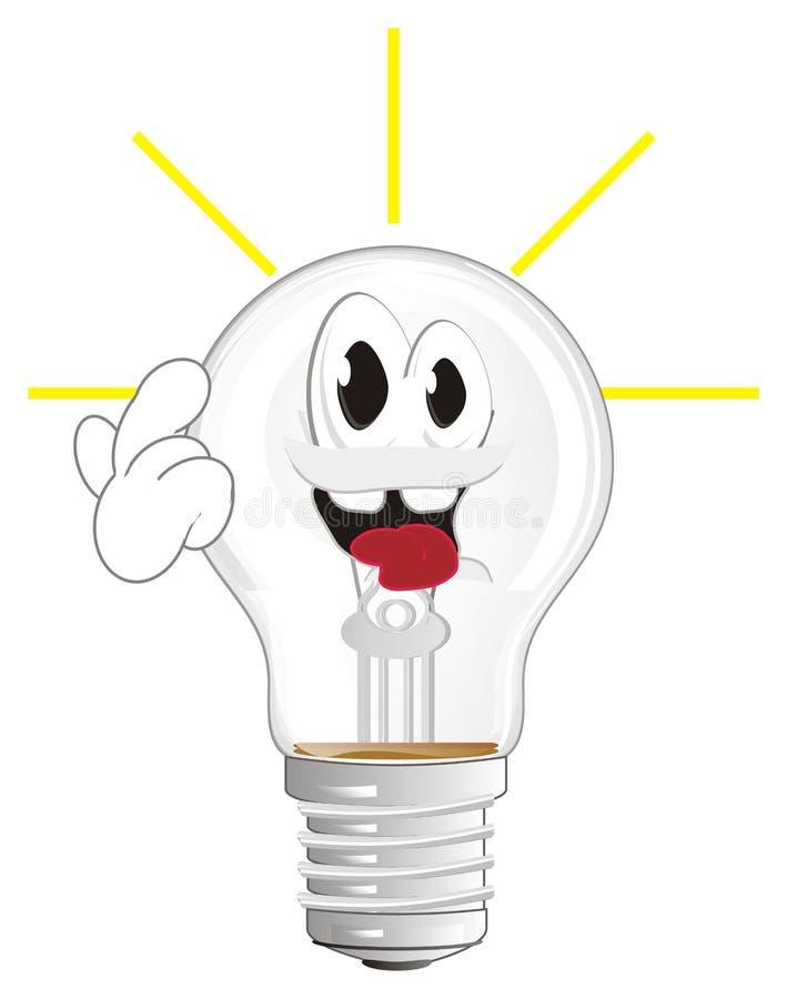 Счастливая электрическая лампочка имеет идею иллюстрация штока