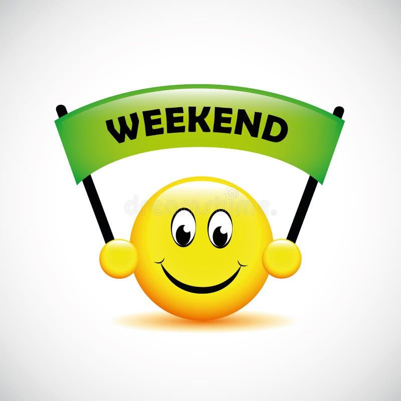 Счастливая smiley сторона с зеленым знаменем выходных бесплатная иллюстрация