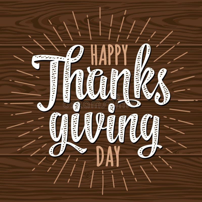 Счастливого Дня Благодарения почерк каллиграфии с лучом Иллюстрация вектора на дереве иллюстрация штока