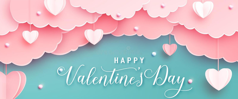 Счастливого дня валентин приветствие фон в реалистичном стиле рестрибутивов Бумажные сердца, облака и жемчужины на струнах Розовы бесплатная иллюстрация