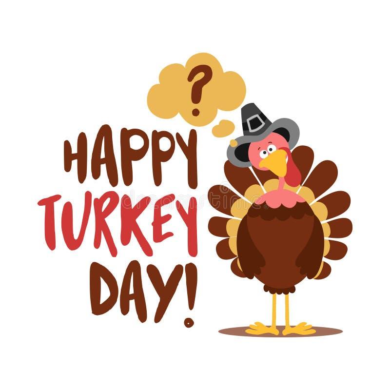Счастливого дня индейки - Каллиграфический плакат Дня Благодарения Плакат цвета осени бесплатная иллюстрация
