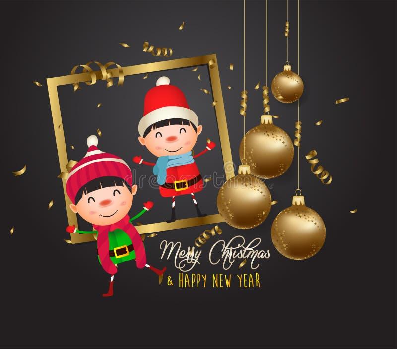 Счастливого нового 2020 года золотые и черные воротники место для текстовых рождественских мячей и детей иллюстрация штока