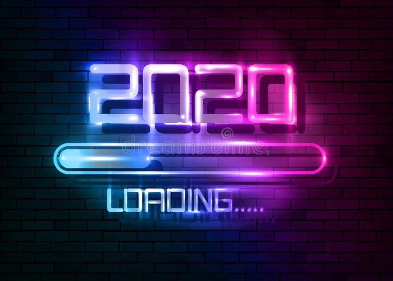 Счастливого нового 2020 года с загрузкой иконки красочный синий неоновый стиль Индикатор прогресса почти достиг канун нового года иллюстрация штока