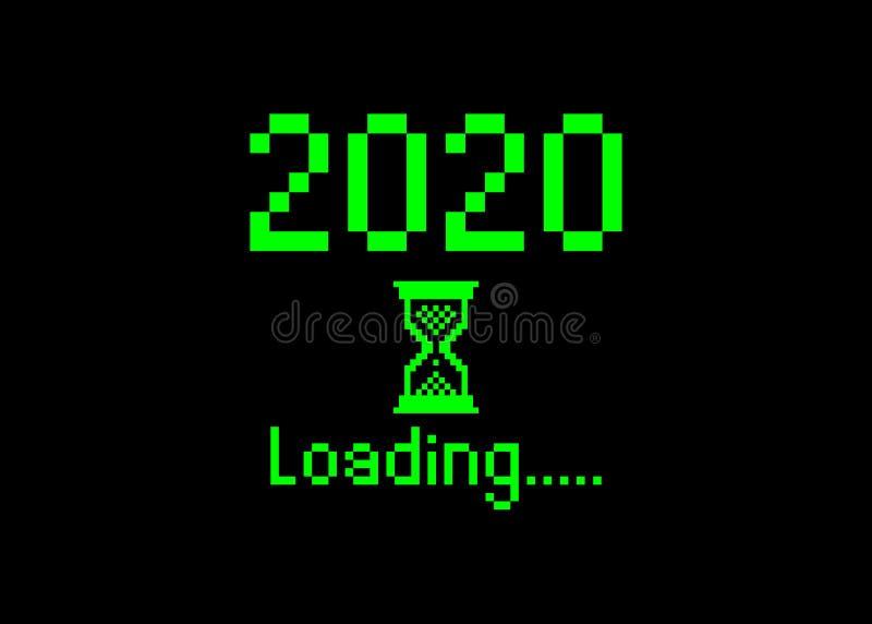 Счастливого нового 2020 года с загрузкой иконки пикселного растрового стиля Индикатор прогресса почти достиг канун нового года Зе иллюстрация вектора