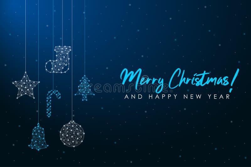 Счастливого Рождества и 2020-го Нового года низкая поликарточка Многоугольная сетчатая сетка с висящими рождественскими украшения иллюстрация вектора