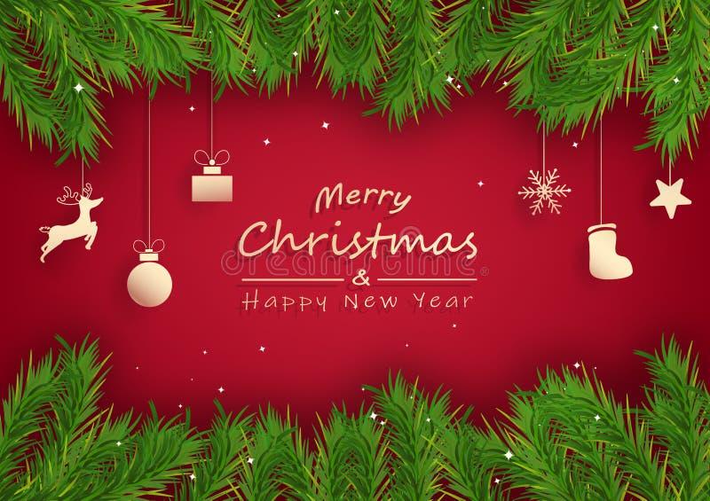 Счастливого Рождества и счастливого нового года, сосновое дерево украшено повешением на бумаге, золотая роскошная поздравительная иллюстрация штока