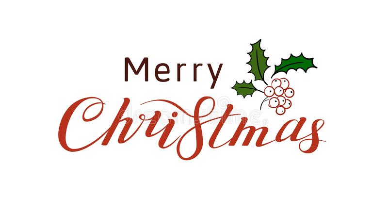 Счастливого Рождества Леттеринг Приветствующий текст, рукописная каллиграфия Иллюстрация вектора, изолированная на белом стоковое изображение