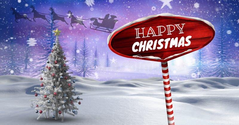 Счастливого рождества отправляют СМС и деревянный указатель в reinde ландшафте зимы рождества и ` s Санты сани и иллюстрация штока