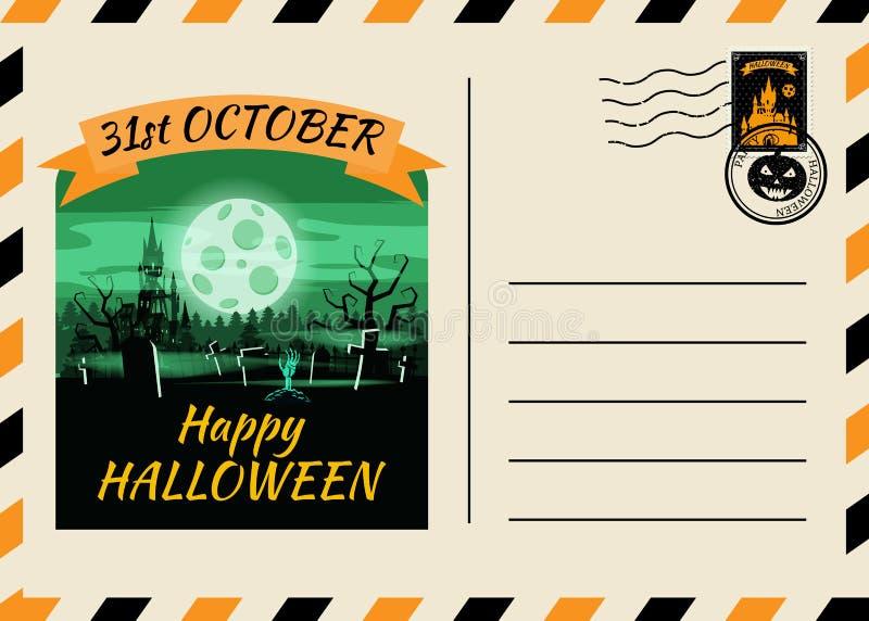 Счастливого Хэллоуина, приглашённого на пост-карточку, шаблон Темного замка с фоновым дизайном Postage Stamp Вектор иллюстрация штока