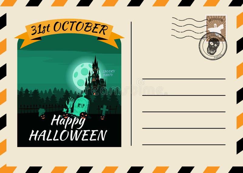 Счастливого Хэллоуина, приглашённого на пост-карточку, шаблон Темного замка с фоновым дизайном Postage Stamp Вектор изолирован иллюстрация штока