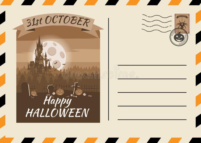 Счастливого Хэллоуина, приглашённого на пост-карточку, шаблон Темного замка с фоновым дизайном Postage Stamp Вектор изолирован иллюстрация вектора