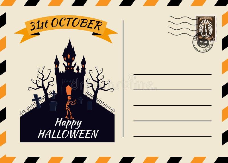 Счастливого Хэллоуина, приглашённого на пост-карточку, шаблон Темного замка с фоновым дизайном Postage Stamp Вектор изолирован бесплатная иллюстрация