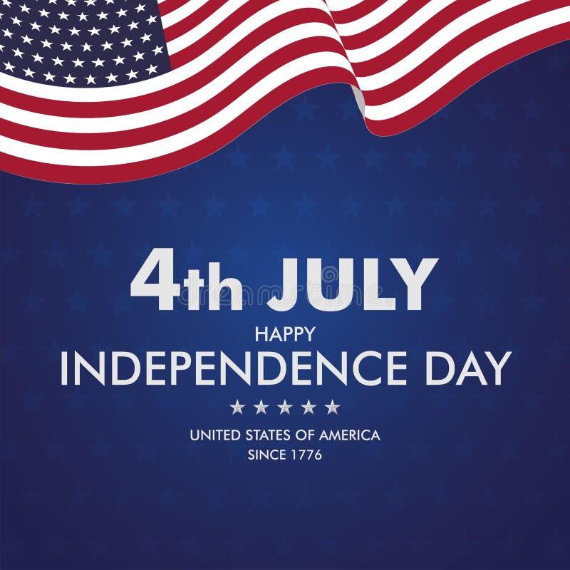 Счастливое 4-ая из независимости Day-011 в июле бесплатная иллюстрация