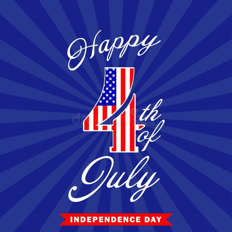 Счастливое 4-ая из предпосылки в июле конструируйте четвертое -го июль Украшение Дня независимости США также вектор иллюстрации п иллюстрация штока