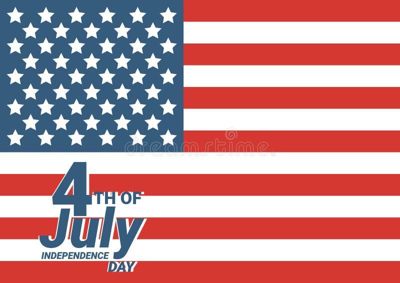 Счастливое 4-ая из США -го поздравительной открытки Дня независимости в июле с развевать американский дизайн текста литерности на иллюстрация штока